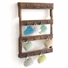 Montado en la pared 16 gancho sopló la taza de café de madera sostenedor de taza estante de exhibición