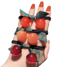 Korean Hair Tie Bow Knot Cherry Elastic Band Ring Cute Girl Ponytail Head Rope Rubber Female Fashion Accessories