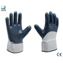 Algodón Jersey Shell medio revestido nitrilo guantes de trabajo de seguridad recubiertos (N6037)
