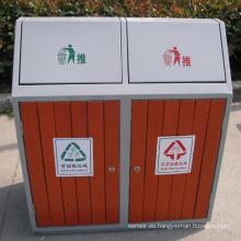 Reciclaje al aire libre de acero de madera Street Dustbin (B9450)