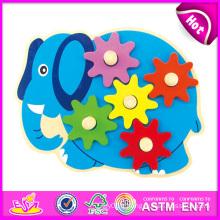 2014 nouveaux enfants en bois Toy Gear, Popualr enfants mignons Toy Gear, Hot vente beaux bébé Elephant Style en bois Toy Gear W13e038