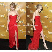 Red Sweetheart Neckline Side Slit Designer Floor Length Custom Make Long Evening Party Dress RD027 wholesale celebrity fashion