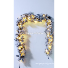 """9 'x 16 """"Pre-Lit Flocked Aspen Pine Artificial Christmas Garland"""