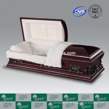 Caixão fabricantes LUXES folheado cerejeira MDF caixão U.S. estilo Pieta