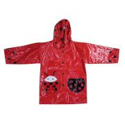 Trẻ em màu đỏ childrens trùm đầu áo mưa pu