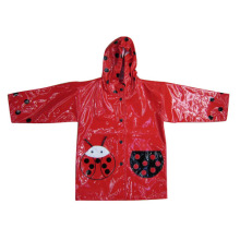 Red kids childrens hooded pu raincoats
