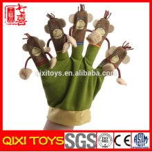 Marionnettes à main de dessin animé singe en peluche marionnettes à gant de main