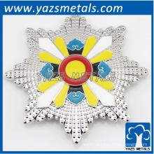 Ornamento de metal prata prateado personalizado, qualquer tamanho, design de logotipo