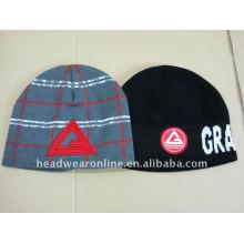 Chapeaux en jacquard tricotés de haute qualité avec logo en broderie