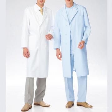 Branco ou cor tingida de tecido uniforme médico