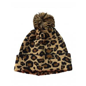 Leopard Knitted Hat with Pompom