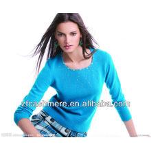 suéter del diamante de punto de cachemira de cuello bajo de color azul claro de señoras