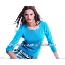 ladies light blue low collar cashmere knitted diamond sweater