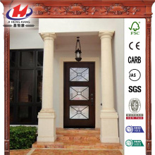 3 Lite Stained Mahogany Wood Prehung Front Door