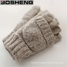 Knitted Gloves with Mitten Cover, Thick Half Fingerless Gloves