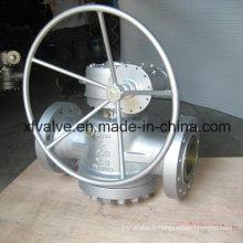 Clapet à brides de branchement à engrenage Wcb à haute pression de 900 lb.