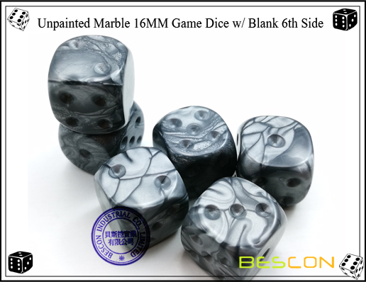 Un-painted Marble Dice 16MM with Blank 6th Side-2