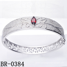 Micro Pave CZ 925 Sterling Silver Jewelry Bangle (BR-0384)
