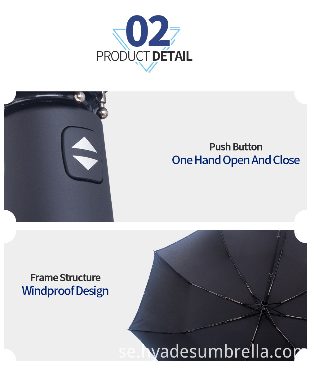 Black Mens Folding Umbrella Windproof