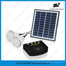 Sistema de iluminación de energía solar recargable con 2 bombillas y cargador de teléfono móvil para interior o exterior