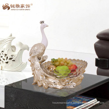 Custom peacock fruit bowl hotel home decorative luxurious dry fruit tray