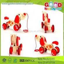 2015New Item Red Mini Set Toys, Draging Dog Деревянные игрушки