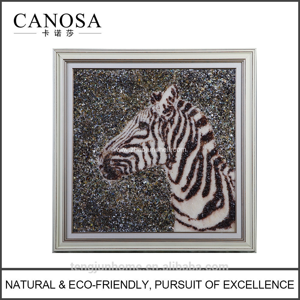 CANOSA Shell hand engarving 3D horse head Wall Picture with wood frame