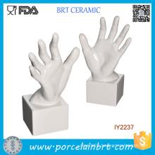 Decorative White Ceramic Lifelike Hand Bookend