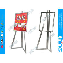 Mordern Chrome Metal Floor Stand Sign Holder , Top Loading Poster Holder