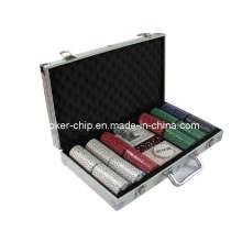 La viruta de póker 300PCS fijó en la caja de aluminio de la esquina cuadrada (SY-S17)