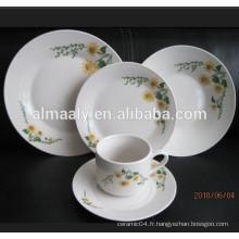 30pcs porcelaine maison utilisé plaques, assiette à soupe, bol et tasse