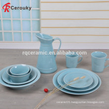 Round shape color glaze stoneware dinner set with your logo printing