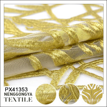 New arrival high quality fashionable yellow tulle 100%polyester embroidery fabric pakistan