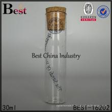Bouteille en verre de liège personnalisé clair rond fond plat 20 ml 30 ml 50 ml 60 ml tube à essai avec bouchon en liège impression