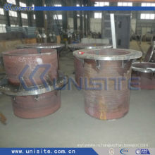Толстая стальная износостойкая трубка с фланцами (USC-7-005)