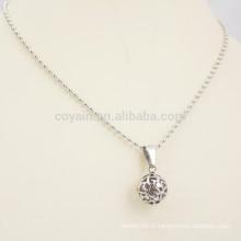 Collier en chaîne en perle en acier inoxydable avec pendentif à billes rondes