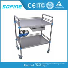 SF-3730 Carrito médico de acero inoxidable carritos de emergencia para hospitales