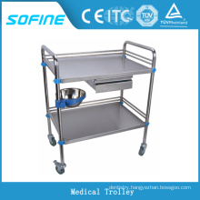 SF-3730 Stainless steel medical trolley hospital emergency trolleys