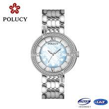 Encargo sus propia marca de lujo damas de lujo Ronda movimiento reloj de diamante