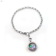 2018 Pulsera flotante grabada cadena de memoria colgante de cristal pulsera de la joyería