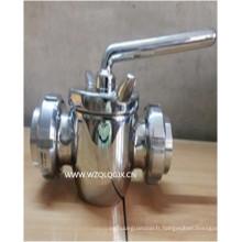 Vanne enfichable laitière sanitaire en acier inoxydable 2 voies avec union