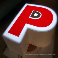 Signes de lettre de la Manche avant allumée LED de Retainerless