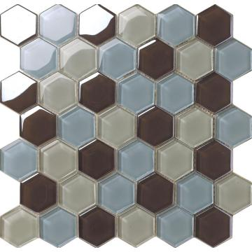 Color mezclado mosaico hexagonal de cristal