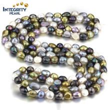 AA 10mm gemischte Farbe Süßwasser Barock Halskette Kostüm Perle Halskette Schmuck
