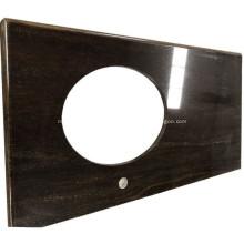Dessus de vanité de comptoir en granite brun pour salle de bain