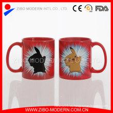 Taza cambiante de encargo al por mayor del color de cerámica / taza mágica en blanco para la sublimación