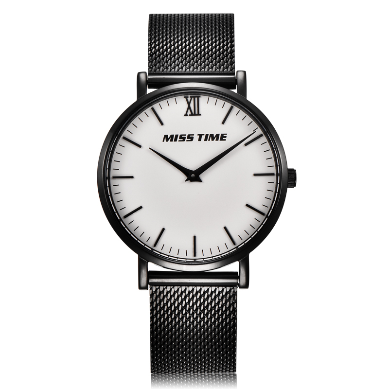 Black mesh band case waterproof lady hand watch