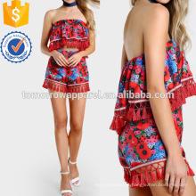 Floral Imprimir Strapless Tassel Crop & Short Set Fabricação Atacado Moda Feminina Vestuário (TA4099SS)