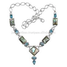 Ушка Оболочки И Синий Топаз Драгоценных Камней Ручной Работы 925 Чистого Серебра Ожерелье