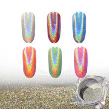 pigmento holográfico, pó de unha glitter holográfico com a cor do arco-íris